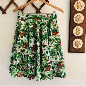 1960's Winter Holly Berries Twirl Skirt